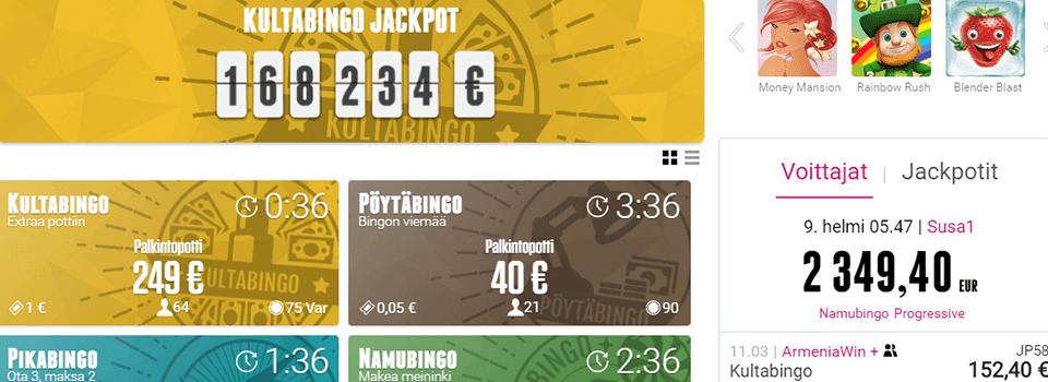 Bingohuone 10e ilmaista pelirahaa