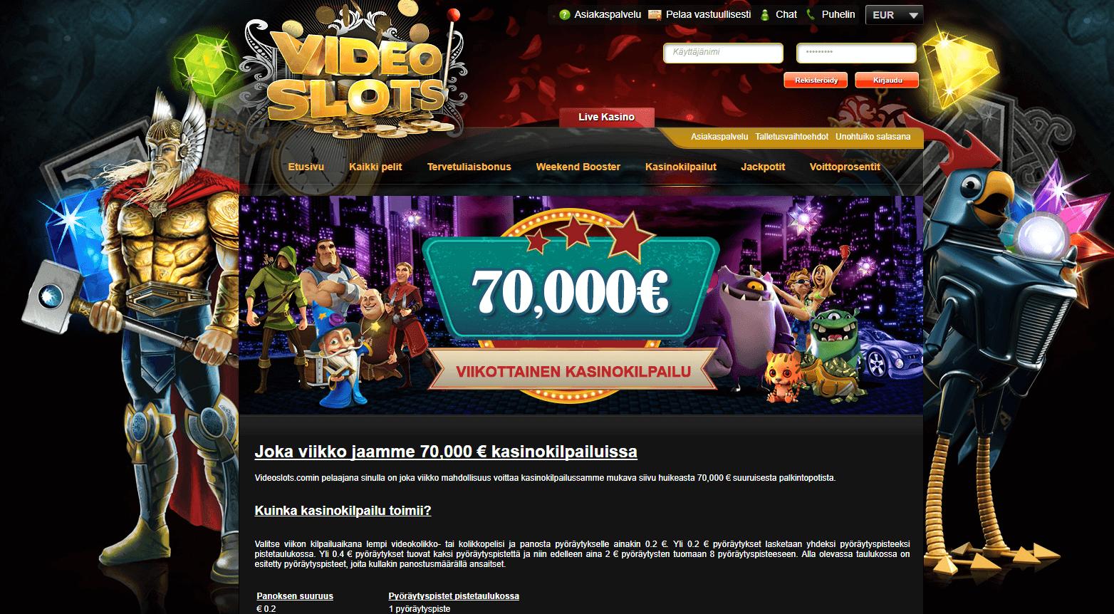 Videoslots 70 000€ jaossa