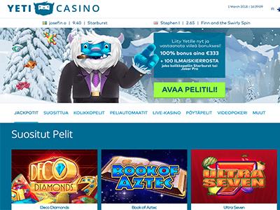 Uuden nettikasinon Yeti Casino kuvakaappaus
