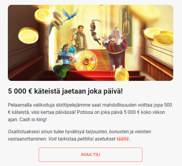LeoVegas 5000 euroa päivässä