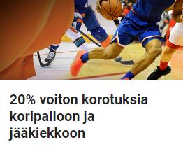 LeoVegas ja 20 % voiton korotuksia koripalloon ja jääkiekkoon