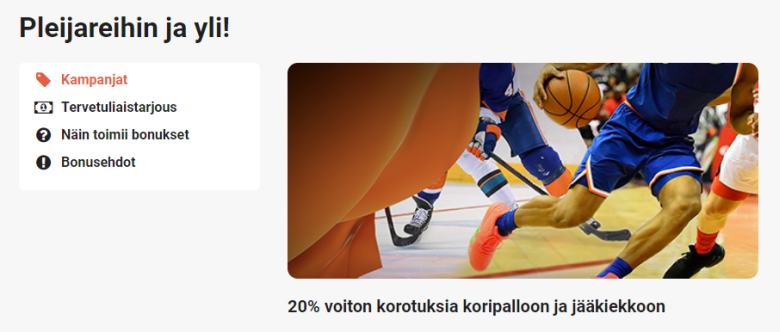 LeoVegas ja 20 % voittoihin korotuksia koripalloon ja jääkiekkoon