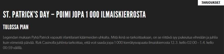 Rizki - poimi jopa 1000 ilmaiskierrosta Pyhän Patrikin -päivän kunniaksi