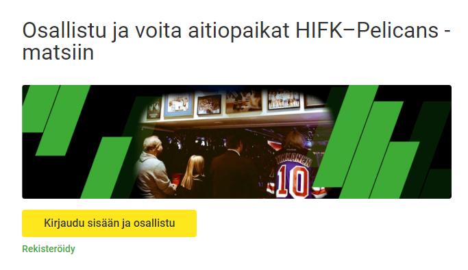 Unibet -HIFK - PELICANS VIP-liput
