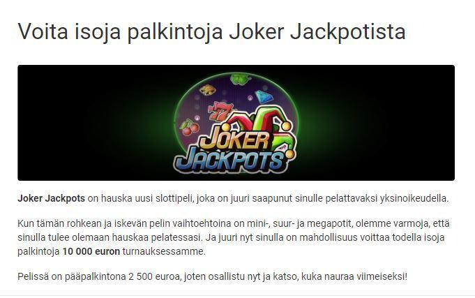 Unibet ja Joker Jackpot 10 000 euroa