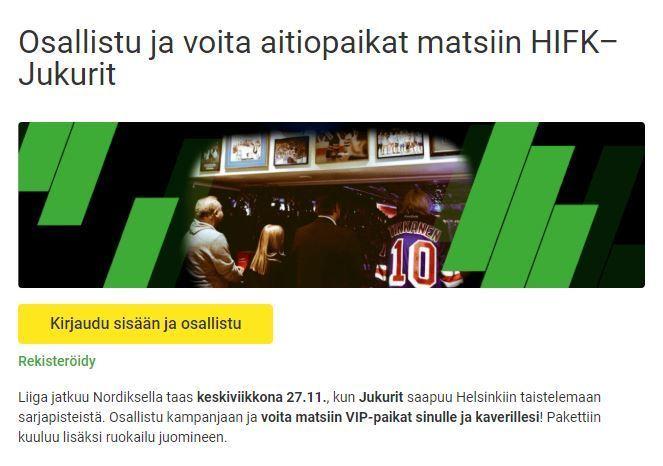 Casinohuone - aitiopaikat HIFK - Jukurit