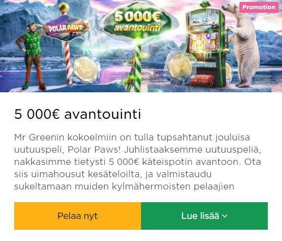 Mr Green - 5000 euron avantouinti